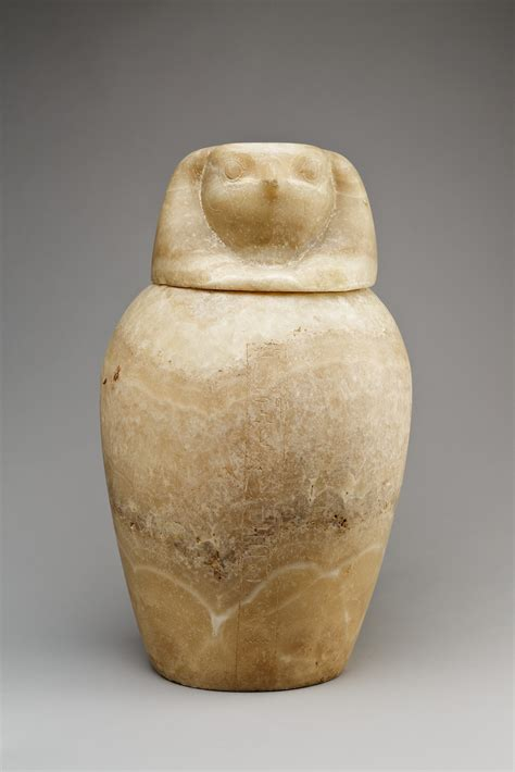 canopic jar   falcon headed lid qebehsenuef late