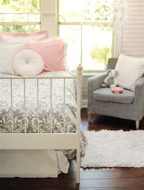 Stella Gray Crib Bedding Damask Bedding Gray Bedding