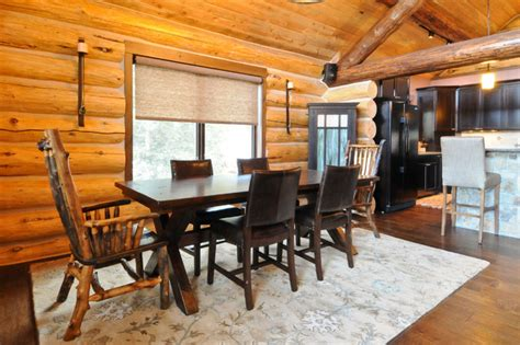 log cabin dining room beetle pine log cabin in the woods of colorado