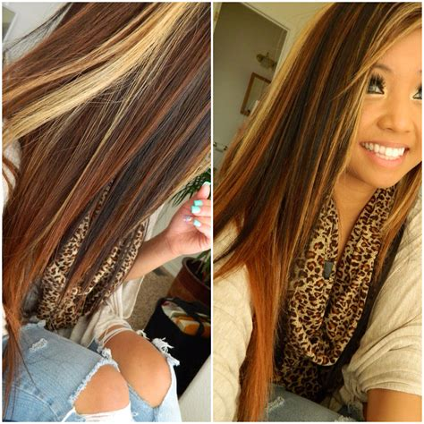 long blonde hair with dark low lights long brown hair with blonde highlights and dark brown