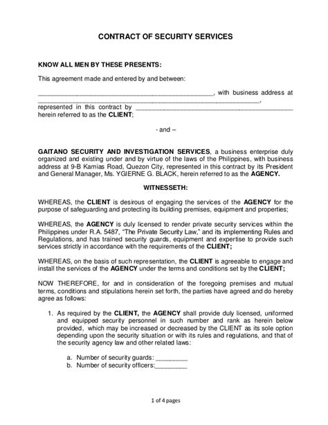 Contract Letter Format For Security Guard Gsisi Contract Of Security Services