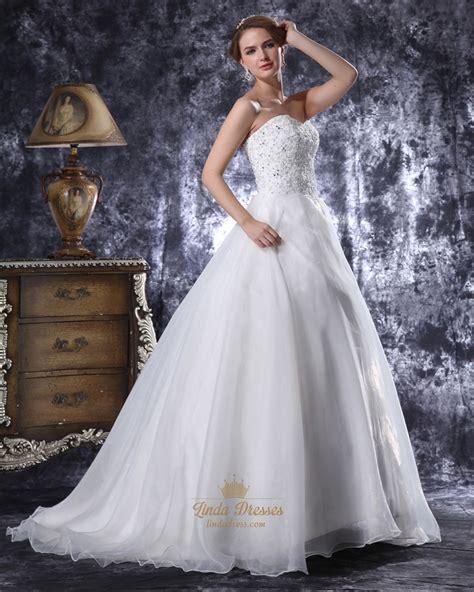 beaded bodice wedding dress white organza sweetheart strapless beaded bodice aline