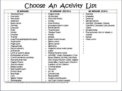 theme games list activity list for kids categorized by how much free time