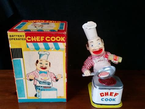 Chef Toys cool working 1950 s yonezawa chef cook battery operated watches toys and