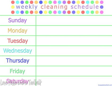 Printable Weekly Cleaning List