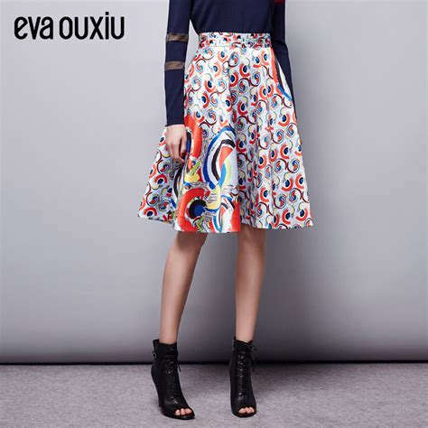 evaouxiu high waist a lined skirt peacock feather print