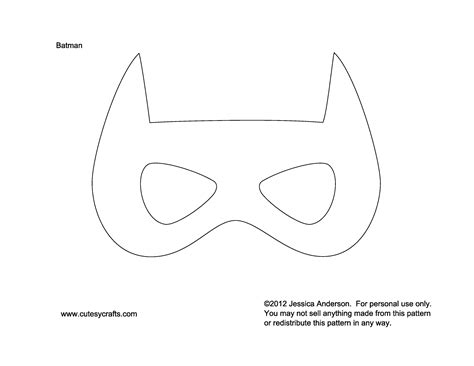 mask template for printable mask template