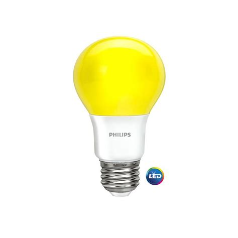 Bug Light Bulbs Led Philips 60w Equivalent Yellow A19 Led Bug Light Bulb 463190 The Home Depot