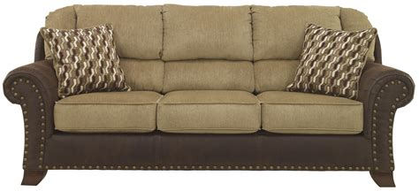 leather furniture upholstery benchcraft vandive 4430038 two tone sofa with chenille