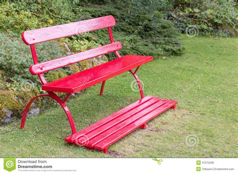 red outdoor bench red garden bench stock photo image 47372239