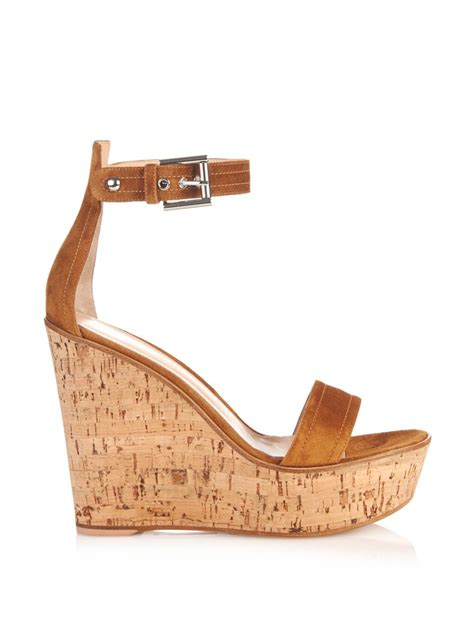 gianvito suede wedge sandals in brown lyst