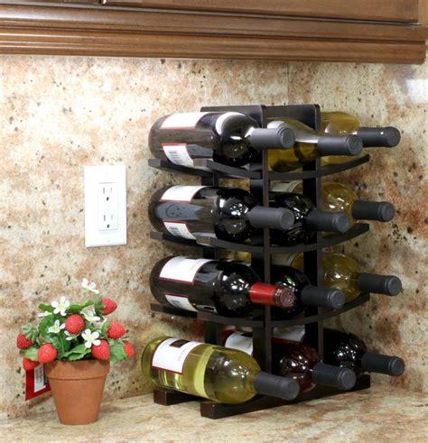 tabletop wine rack 12 bottle holder wood storage kitchen