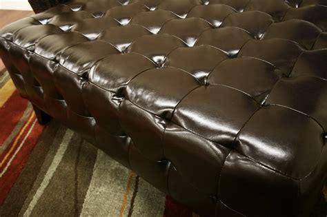 dark chocolate brown bonded leather living room w recliners pemberly dark brown bonded leather square ottoman