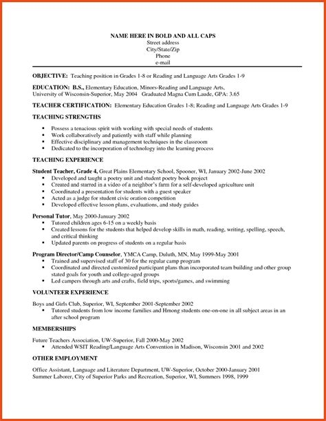 objective of a resume exles teaching resume objective moa format