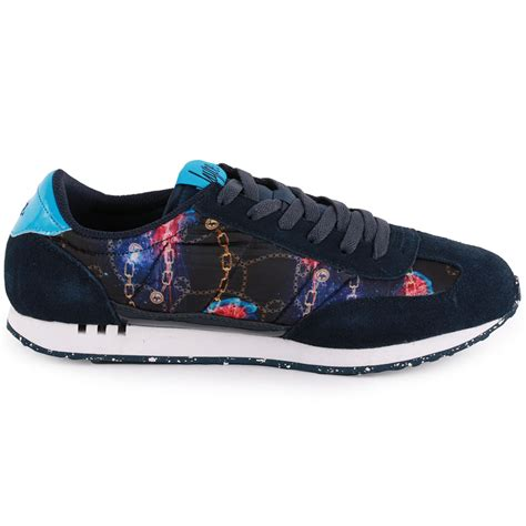 hype runner unisex suede textile trainers navy blue new