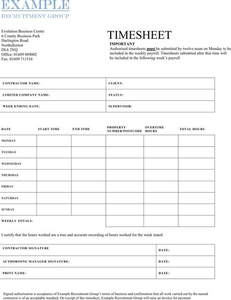 Contractor Timesheet Templates Download Free Premium Templates Forms Sles For Jpeg Timesheet For Contractors Template Free Excel