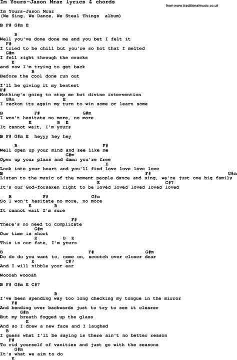 testo i m yours song lyrics for im yours jason mraz with chords