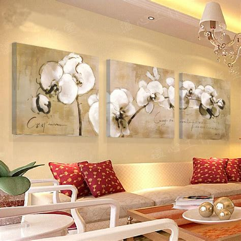 free shipping 3 panel butterfly orchid painting printed