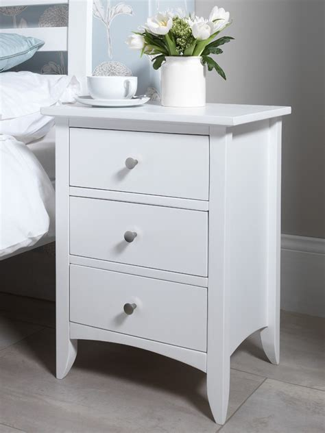White 3 Drawer Bedside Table Edward Hopper White Bedside Table Bedroom Furniture Direct