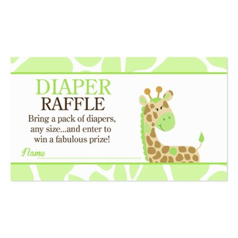 green giraffe jungle baby shower diaper raffle zazzle
