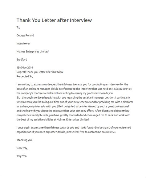 thank you letter exles for interviews sle thank you letter 10 exles in word pdf