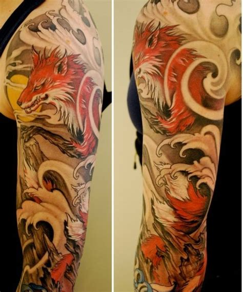 japanese wolf tattoo design that i on water tattoos japanese