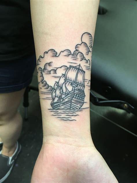 brian tattoo brian carr ship ship shipwrecked line