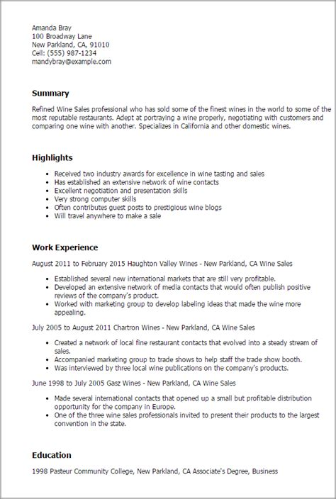 Newscast Director Cover Letter by 1 Wine Sales Resume Templates Try Them Now Myperfectresume
