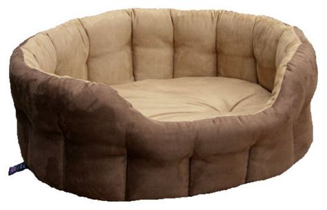 oval drop fronted faux suede softee dog beds p l