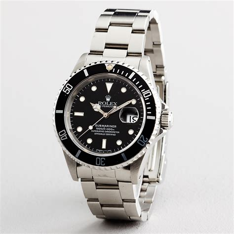 mens rolex submariner date stainless steel black sub