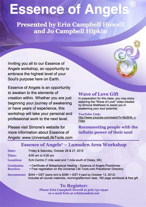 essence of angel workshops universal life tools
