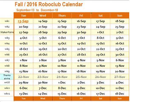 Fall Calendar Storming Robots Terms Calendar