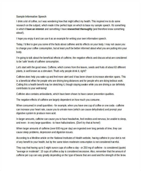 Exle Of Informative Speech Essay by Written Informative Speech Exles