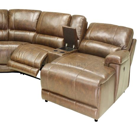 hazelnut leather 6pc modern reclining sectional sofa