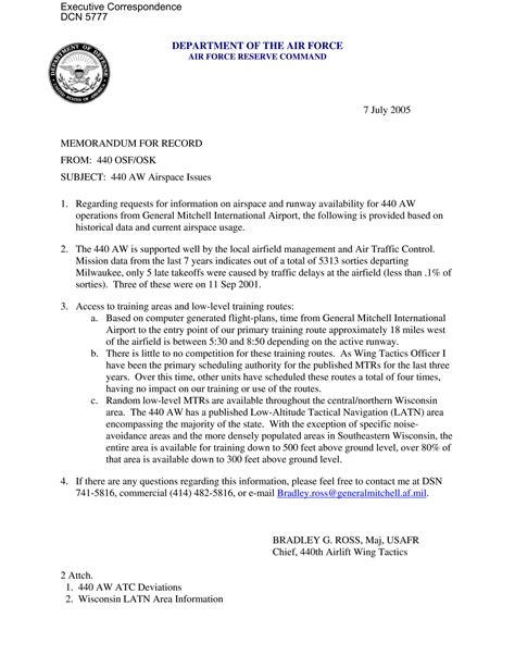 Memo Format Air Executive Correspondence Memorandum For Record Dated 07 07 2005 Regarding Requests For