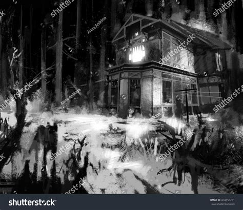 themes in house of spirits old wooden grungy dark evil haunted stock illustration