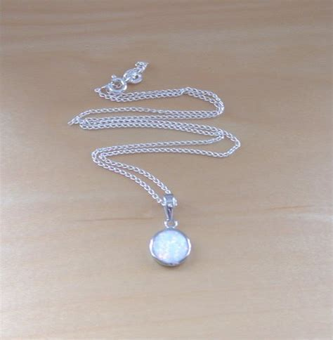 white opal necklace 925 white opal pendant 18 quot sterlingsilver chain opal