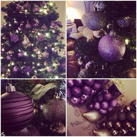 purple themed christmas tree