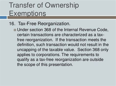 taxable value uncapping relating to the transfer of ownership