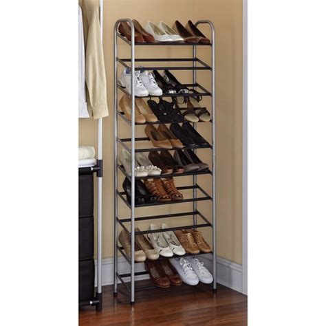 mainstays 10 tier rolling shoe rack silver black