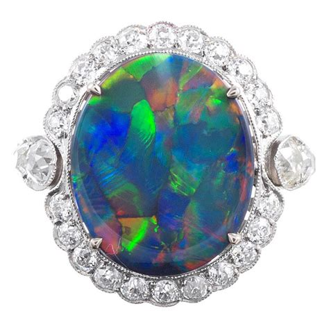 Cincin Black Opal Lightning Ridge lightning ridge black opal ring black opal lightning ridge and 1 carat