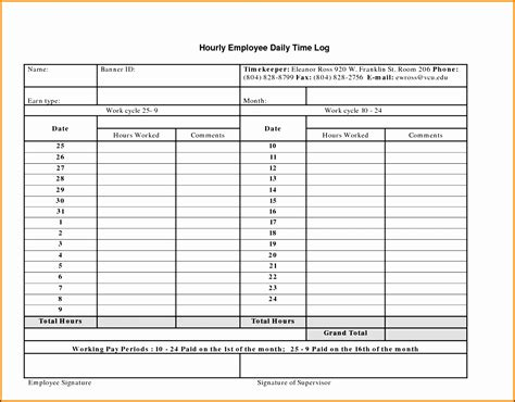 Free Receipt Log Template by 9 Free Work Log Template Sletemplatess