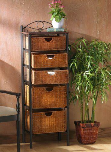 5 Drawer Storage Wicker Baskets Iron Countertop Bathroom Bathroom Countertop Storage Drawers