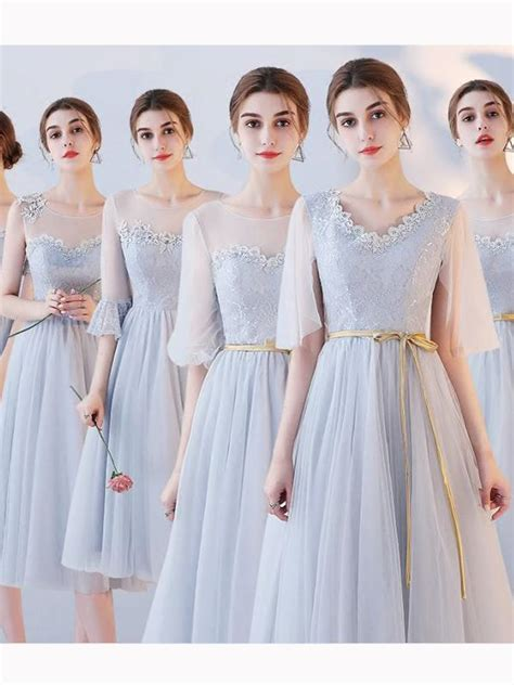 chic   scoop tulle lace simple modest prom dress