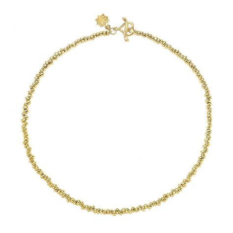 gold plated bead necklace gold plated silver nugget bead necklace