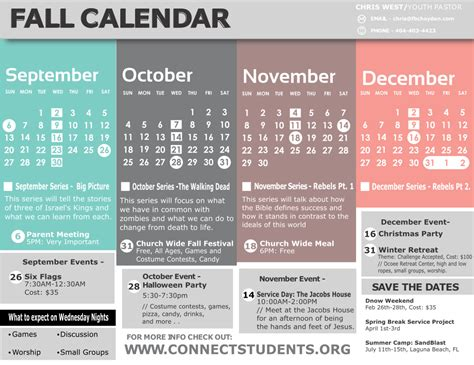 Fall Calendar Fall 2015 Calendar Fbc Hayden Student Ministry