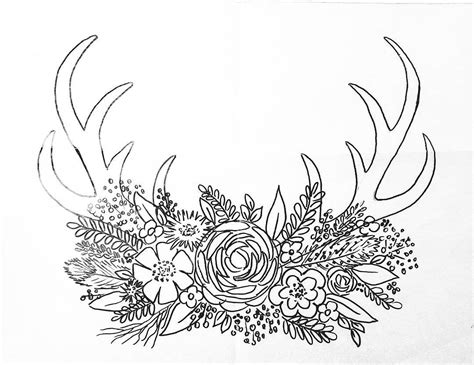 free printable coloring sheet deer antler traceable