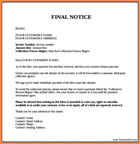 Electronic Invoice Notification Letter debt collection letters for unpaid invoices collection