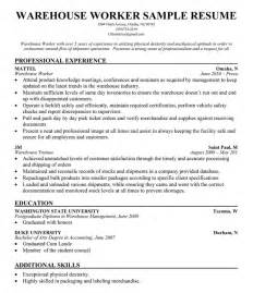 Warehouse Worker Resume Template by Warehouse Resume And Logistics Writing Tips