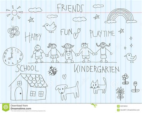 doodle draw the kindergarten children doodle drawing sketch of a friend
